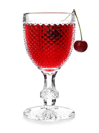 Delicious cherry wine with ripe juicy berries isolated on white