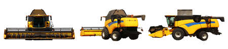 Modern combine harvester on white background, views from different sides. Agricultural machinery