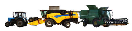 Set of different agricultural machinery on white background. Banner design