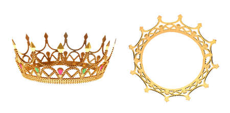 Beautiful crown with gemstones on white background, side and top views
