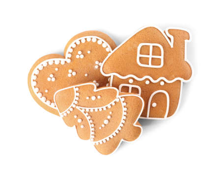 Different delicious Christmas cookies on white background, top view Standard-Bild