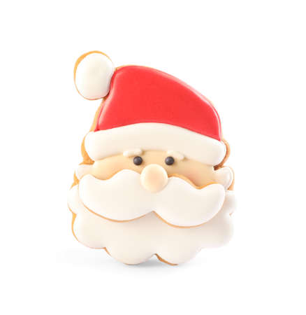Santa Claus shaped Christmas cookie isolated on white