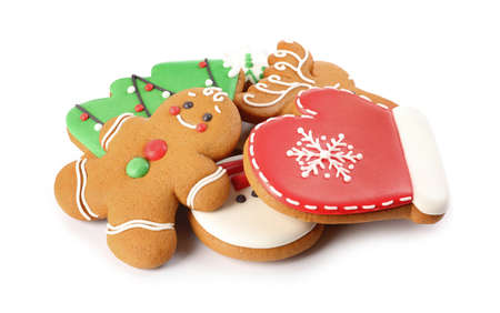 Pile of Christmas cookies on white background