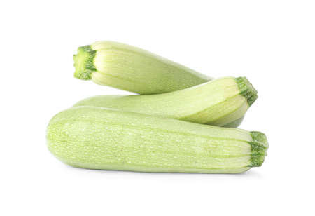 Raw green ripe zucchinis isolated on white Zdjęcie Seryjne