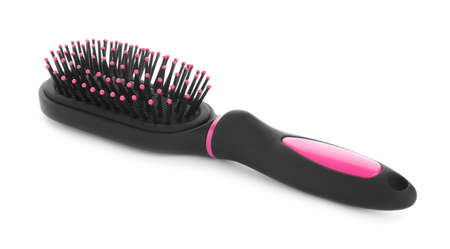New modern hair brush isolated on white Banque d'images