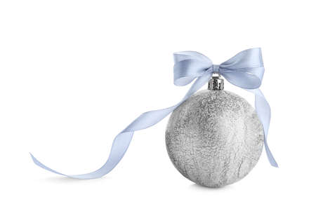 Beautiful silver Christmas ball with ribbon isolated on white