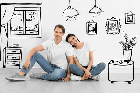Happy couple dreaming about renovation on floor. Illustrated interior design