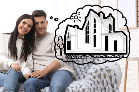 Lovely couple dreaming about new house. Illustration in thought bubble 免版税图像