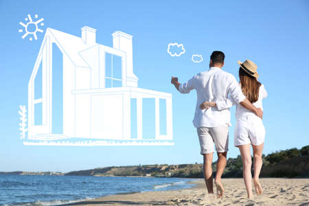 Couple imagining dream house outdoors. Illustration of building