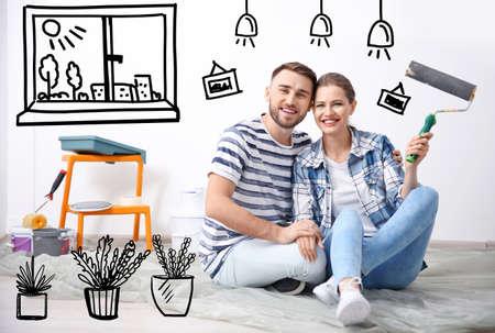Happy couple dreaming about renovation on floor. Illustrated interior design Archivio Fotografico