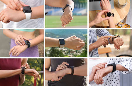Photos of people with smart watches, closeup view. Collage design