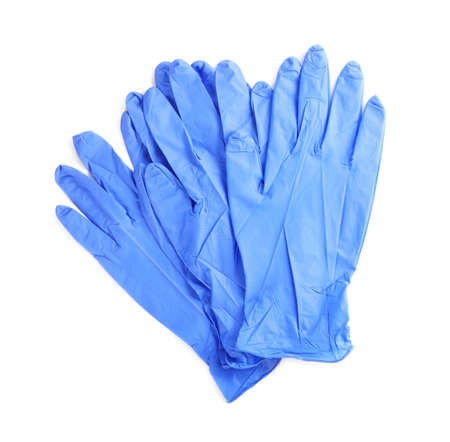 Protective gloves isolated on white, top view. Medical item