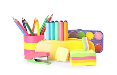 Set of different school stationery on white background
