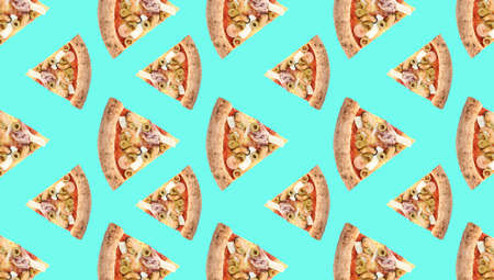 Seafood pizza slices on light blue background. Pattern design