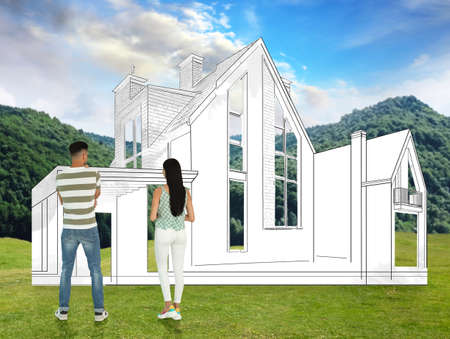 Couple dreaming about future house. Landscape with building illustration