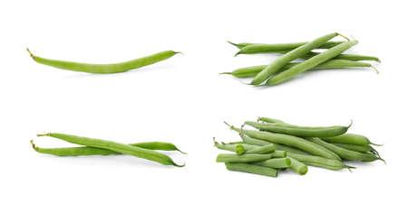 Set of fresh green beans on white background. Banner design