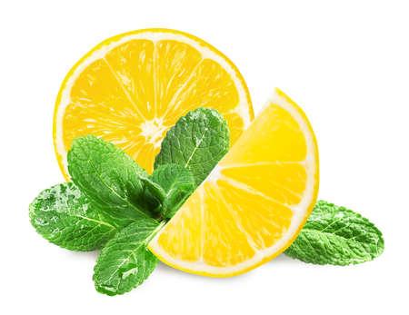 Fresh lemon and green mint leaves on white background