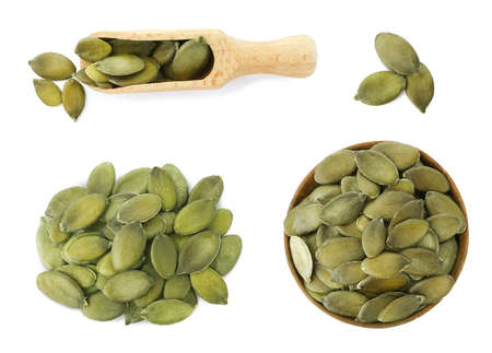 Set of pumpkin seeds on white background, top view