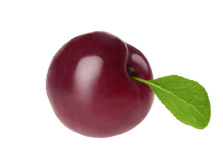 Delicious ripe plum with leaf isolated on white