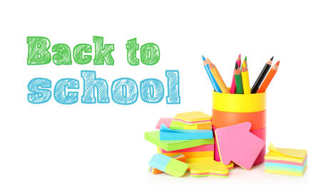 Text Back To School and different stationery on white background 版權商用圖片