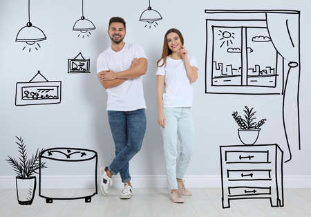Happy couple dreaming about renovation near wall. Illustrated interior design