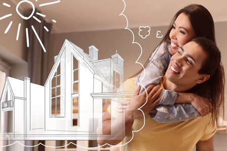 Lovely interracial couple dreaming about new house. Illustration in thought bubble 免版税图像