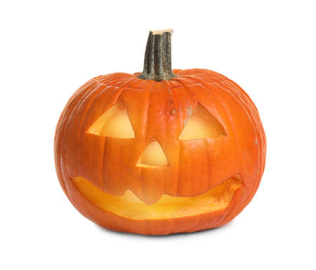 Cute pumpkin jack o'lantern isolated on white. Halloween decor