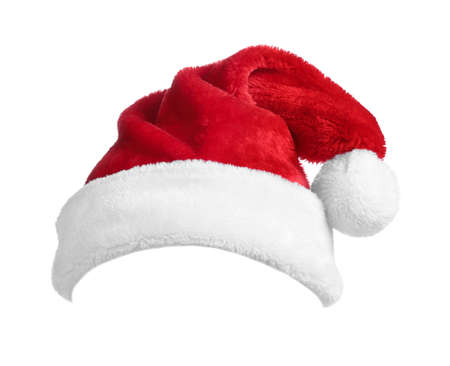 Red Santa Claus hat isolated on white Banque d'images
