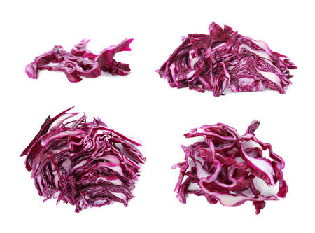 Piles of chopped red cabbage on white background
