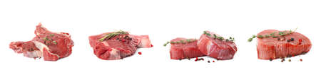 Set with raw meat on white background. Banner design