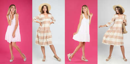 Collage with photos of young women wearing different dresses on bright backgrounds