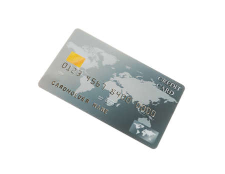 Gray plastic credit card isolated on white 版權商用圖片