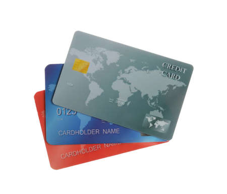 Different plastic credit cards on white background 版權商用圖片