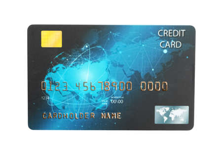 Blue plastic credit card isolated on white