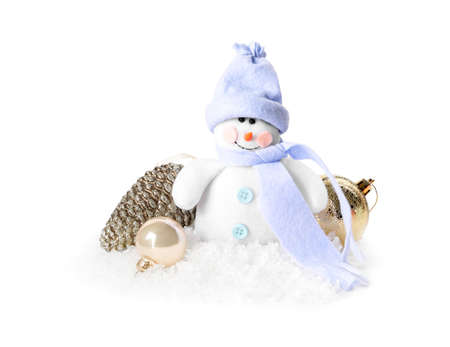 Cute snowman and Christmas decoration on white background