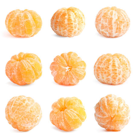 Set of peeled fresh tangerines on white background