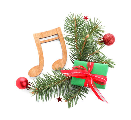 Composition with wooden music note on white background, top view. Christmas celebration