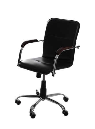 Comfortable leather office chair isolated on white