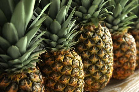 Closeup view of fresh ripe juicy pineapples