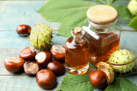 Chestnuts and essential oil on blue wooden table Stock Photo