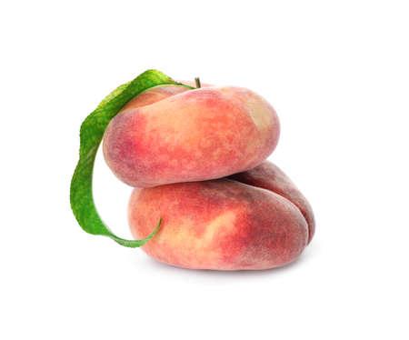 Fresh ripe donut peaches on white background
