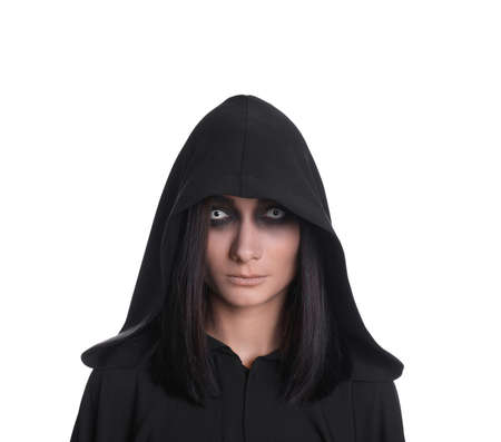 Mysterious witch with spooky eyes on white background