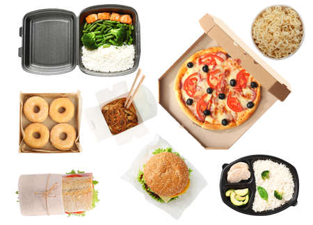Collage of fresh food on white background, top view. Online delivery