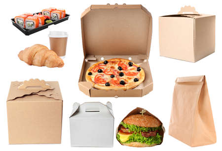 Collage of cardboard and plastic containers with fresh food on white background. Online delivery Фото со стока