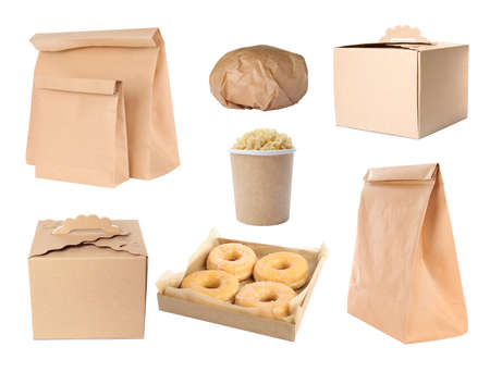 Collage of cardboard containers on white background. Food delivery