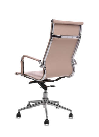 Comfortable leather office chair isolated on white Standard-Bild