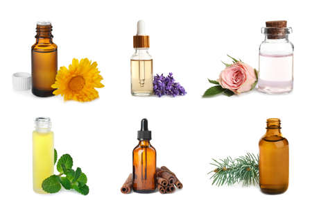 Set of different essential oils for aromatherapy on white background
