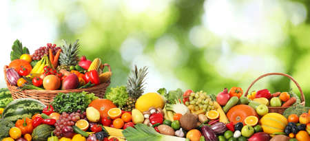 Assortment of fresh organic vegetables and fruits on blurred green background