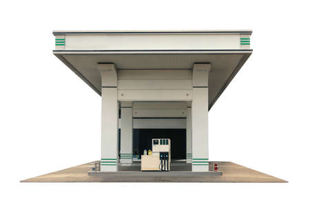 Modern gas station on white background, exterior Banque d'images