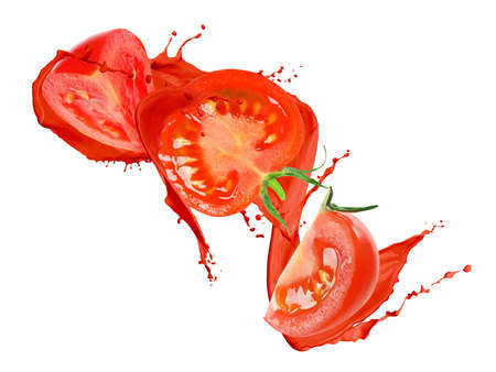 Fresh tomatoes with juice splash in air on white background